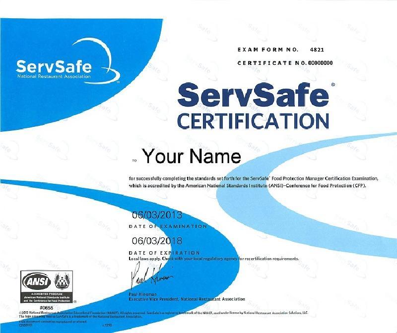 Food Servsafe Manager Certification Korean